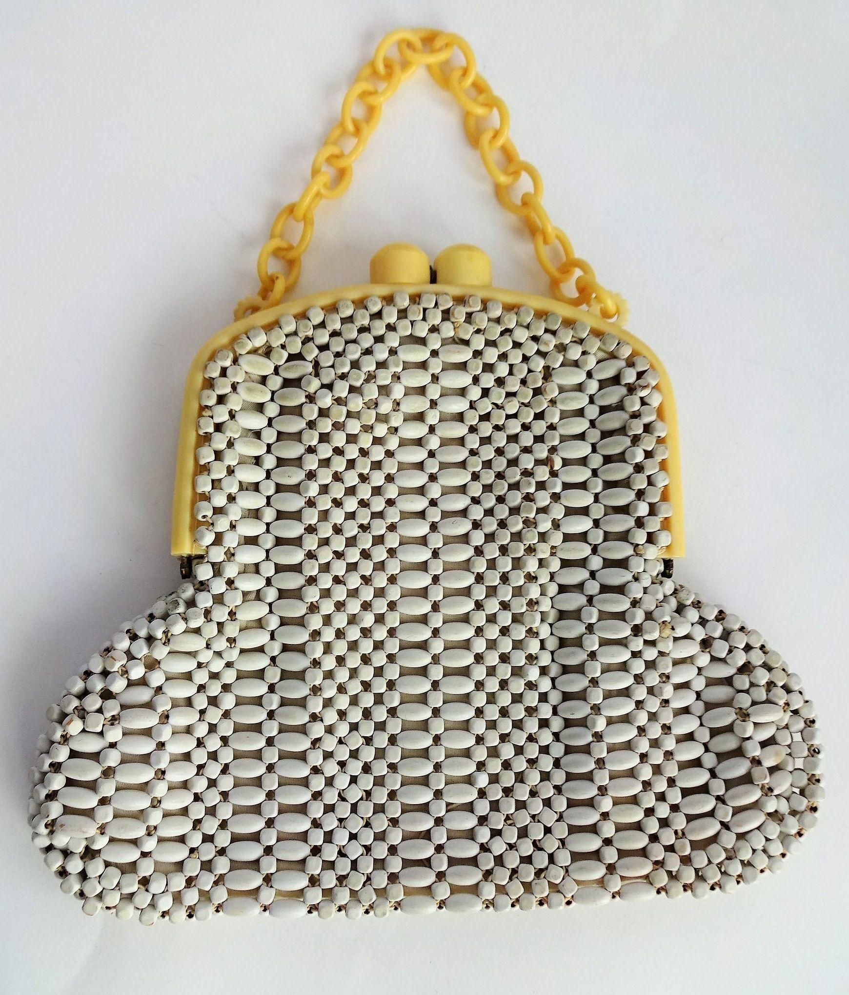 Art Deco Celluloid Beaded Purse Vintage 1940s White Yellow Womens ... e422d148dc31e