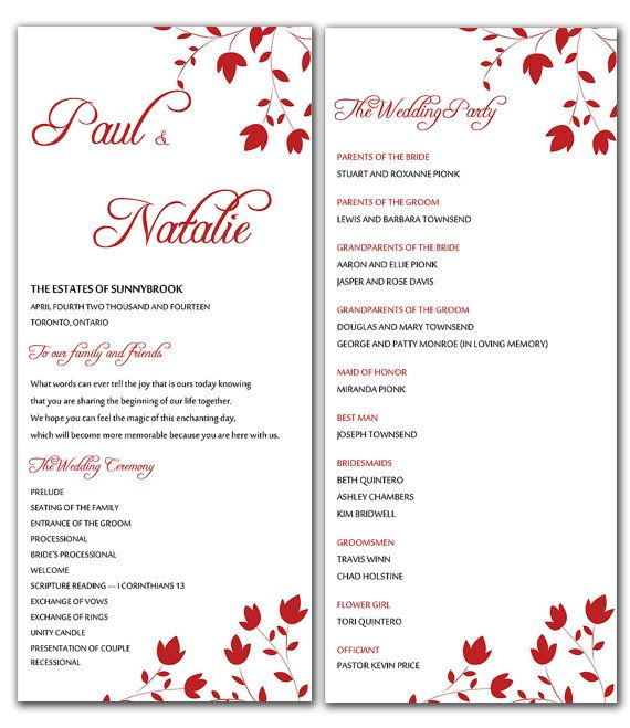 Diy red wild flowers wedding program microsoft word for Free printable wedding program templates word
