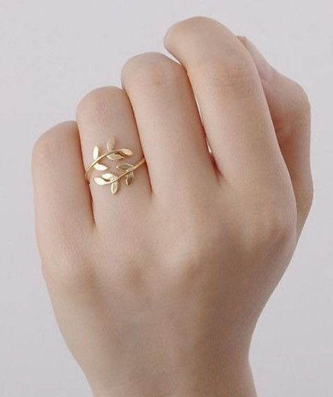 10k Gold Prism Jewel 0.12Ct G-H//I1 Natural Diamond Peace Olive Leaf Style Delicate Ring