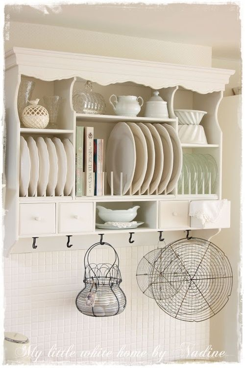 Cottage White Cream Ivory - Lovely plate rack - perfect for extra storage in small kitchens! & Such a pretty display for dishes you actually use | Decor ...