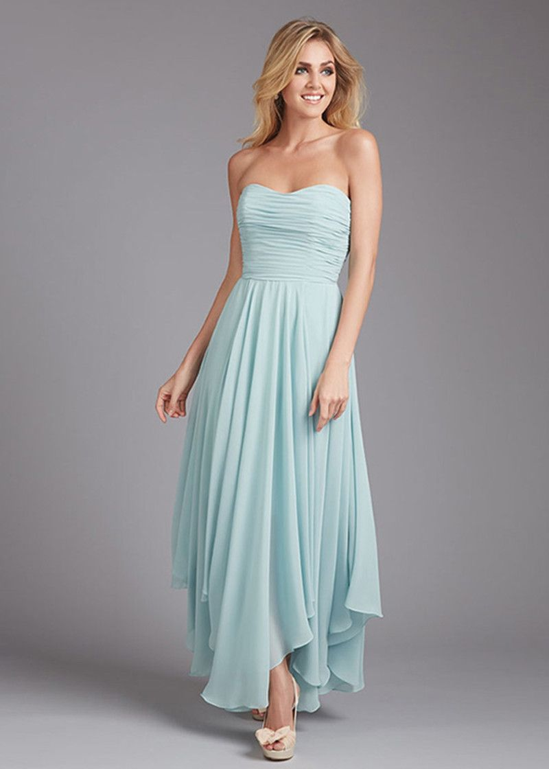 trapless Waterfall Chiffon Ruched Asymmetrical Long Formal Party ...