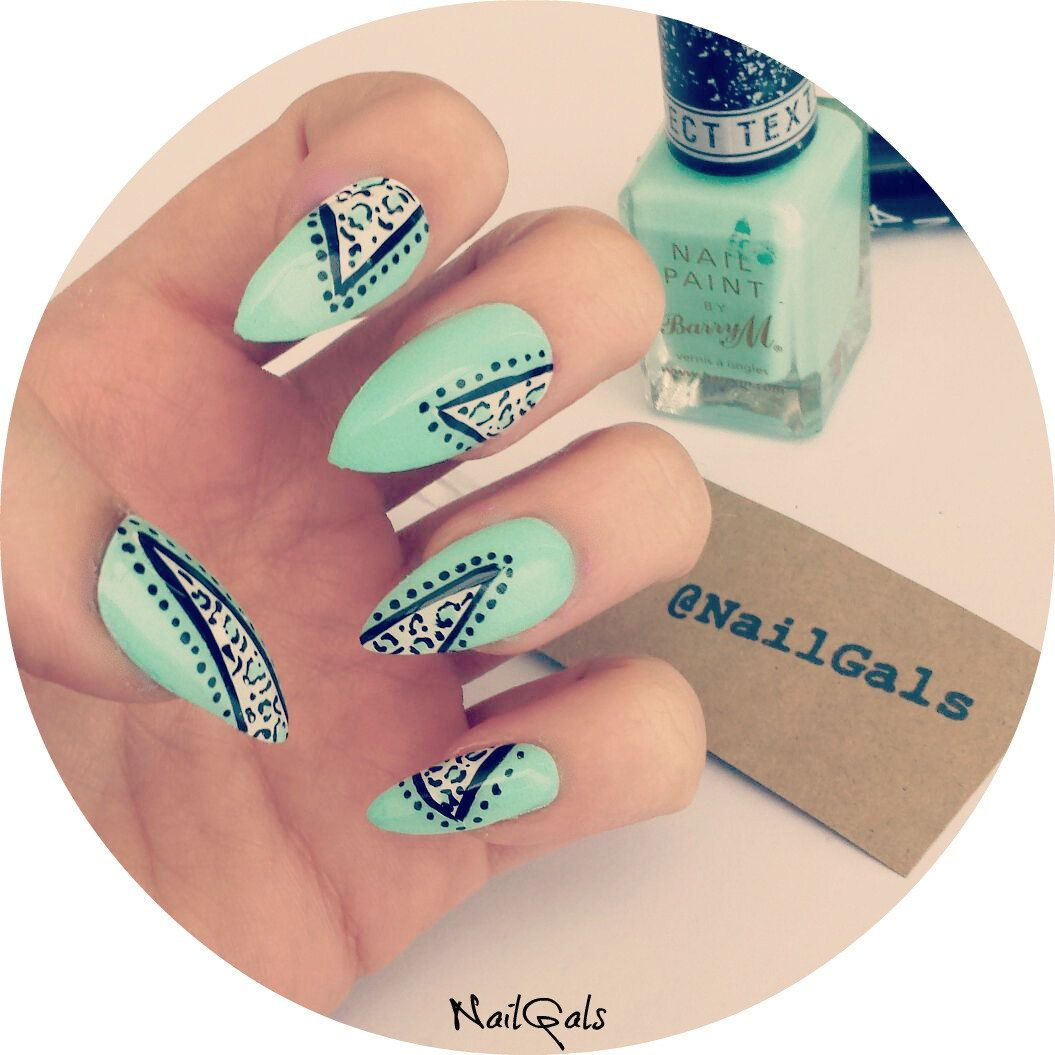 Mint Green Leopard Print Stiletto Nails Set Hand Painted Animal Nail Art