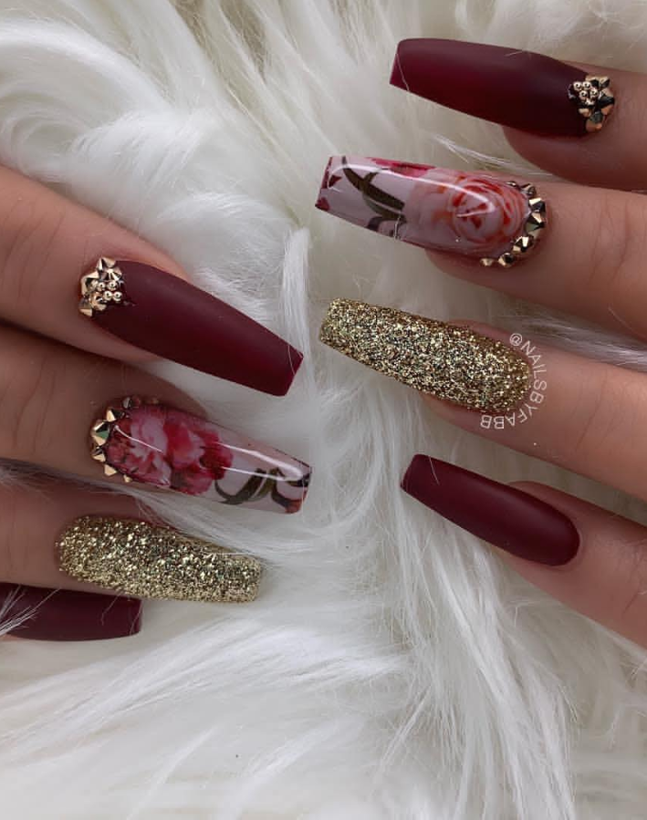 25 Amazing Acrylic Coffin Nails Design To Make You Stand Out Page 21 Of 25 Latest Fashion Trends For Woman Coffin Nails Designs Maroon Nails Gold Nails