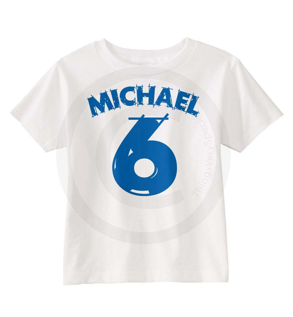 Boys Birthday Shirt For 6 Year Old Boy With Blue Number And Name 01082015a