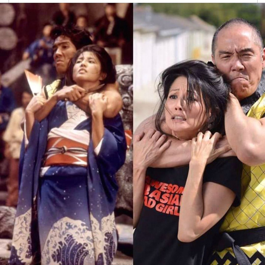 """Totally Awesome 80s on Instagram: """"Tamlyn Tomita and Yuji Okumoto  re-enacting their scene from Karate Kid 2, 33 years later #kar… 