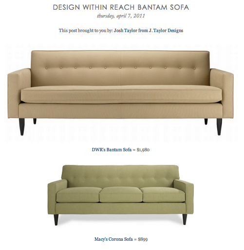 Copy Cat Chic Find Dwr S Bantam Sofa Vs Macy S Corona Sofa