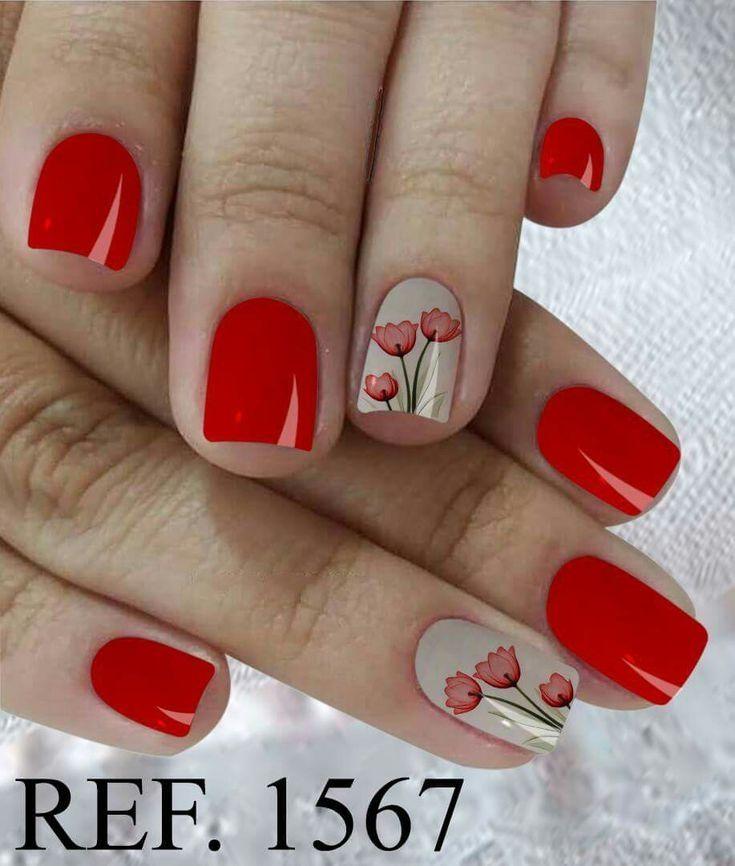 41 Diseño De Uñas Color Rojo Que Te Encantarán Uñas