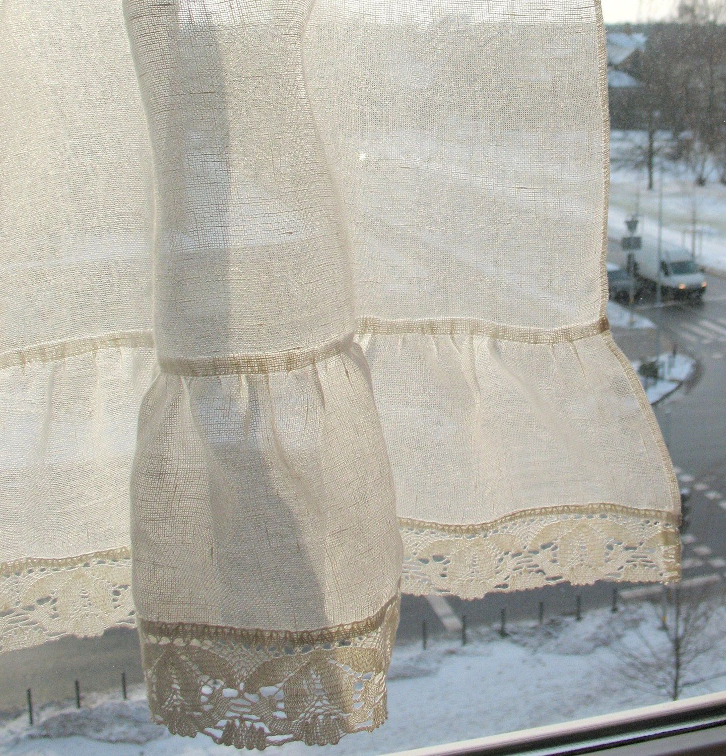 Ruffled curtains lace curtains cafe curtains linen curtains kitchen