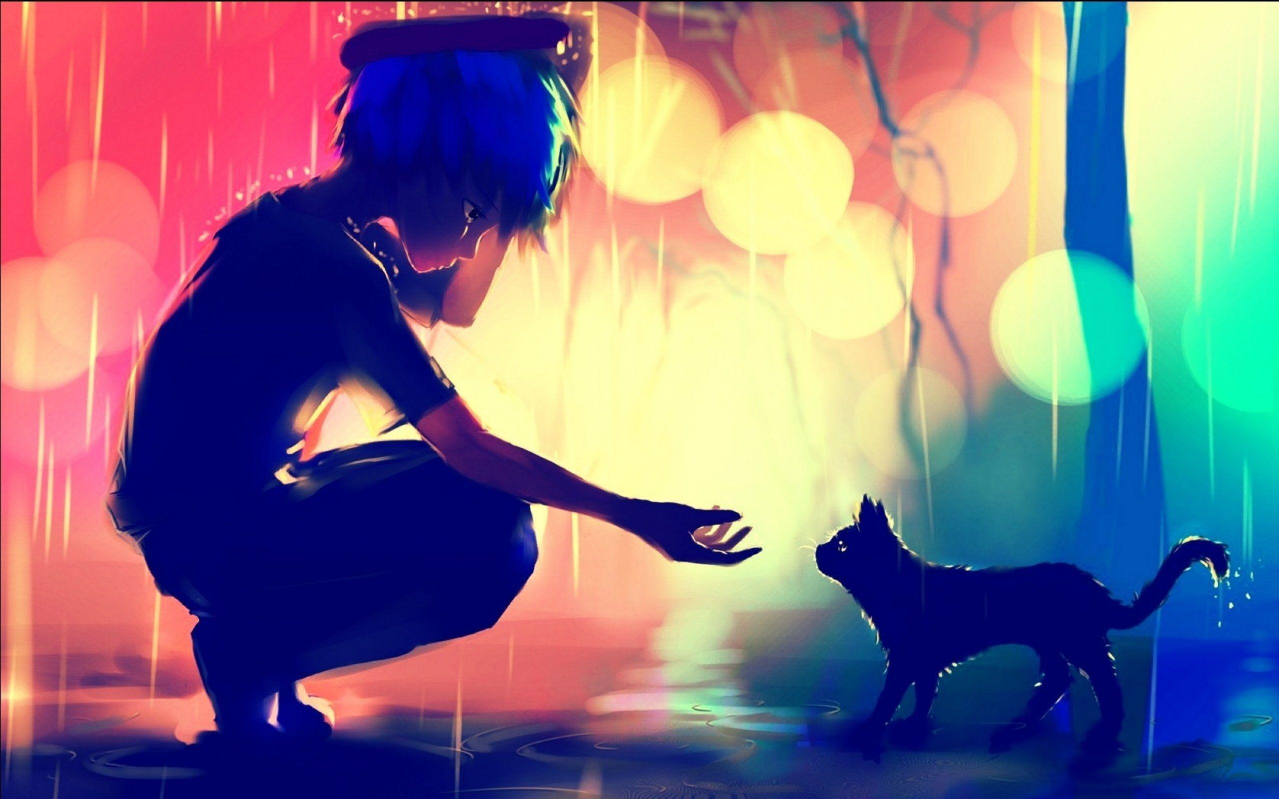 Anime Boy Cat Sadness Profile View Bokeh Raining Domestic Wallpaper Anime Scenery Wallpaper Anime Wallpaper Anime Scenery