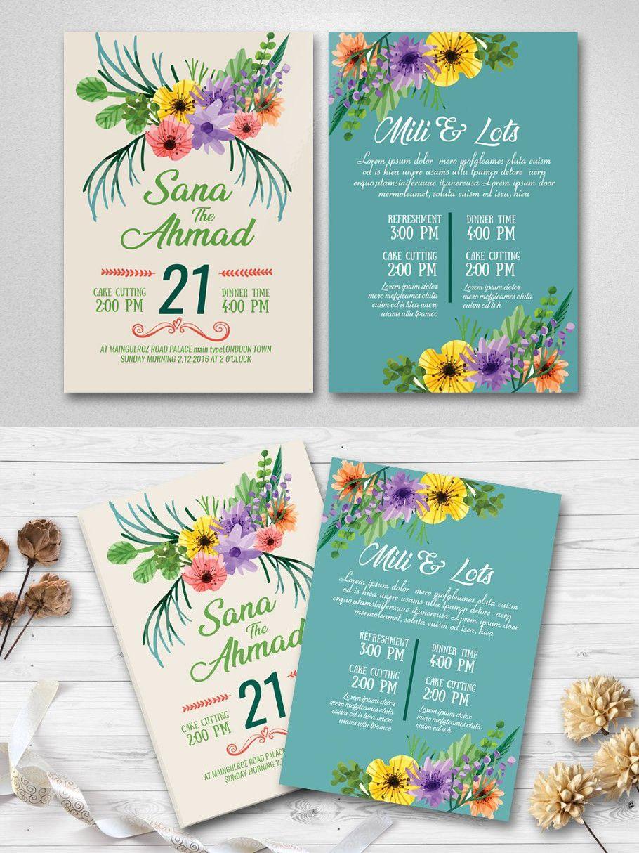 Double Sided Wedding Invitation Card Wedding Invitation Card Design Invitation Card Design Wedding Invitation Cards