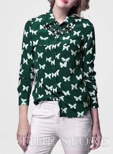 Hip Turndown Collar Long Sleeve Silk Floral Imprint Shirt: tidestore.com
