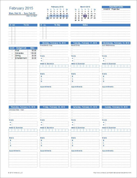 A printable Personal Planner template for Excel with everything - one week planner template