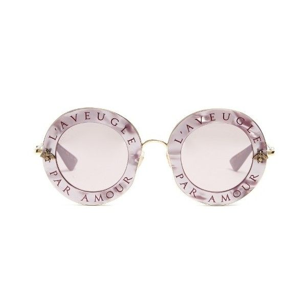 814b8403b9a Gucci L Aveugle Par Amour metal sunglasses ( 550) found on Polyvore  featuring women s fashion