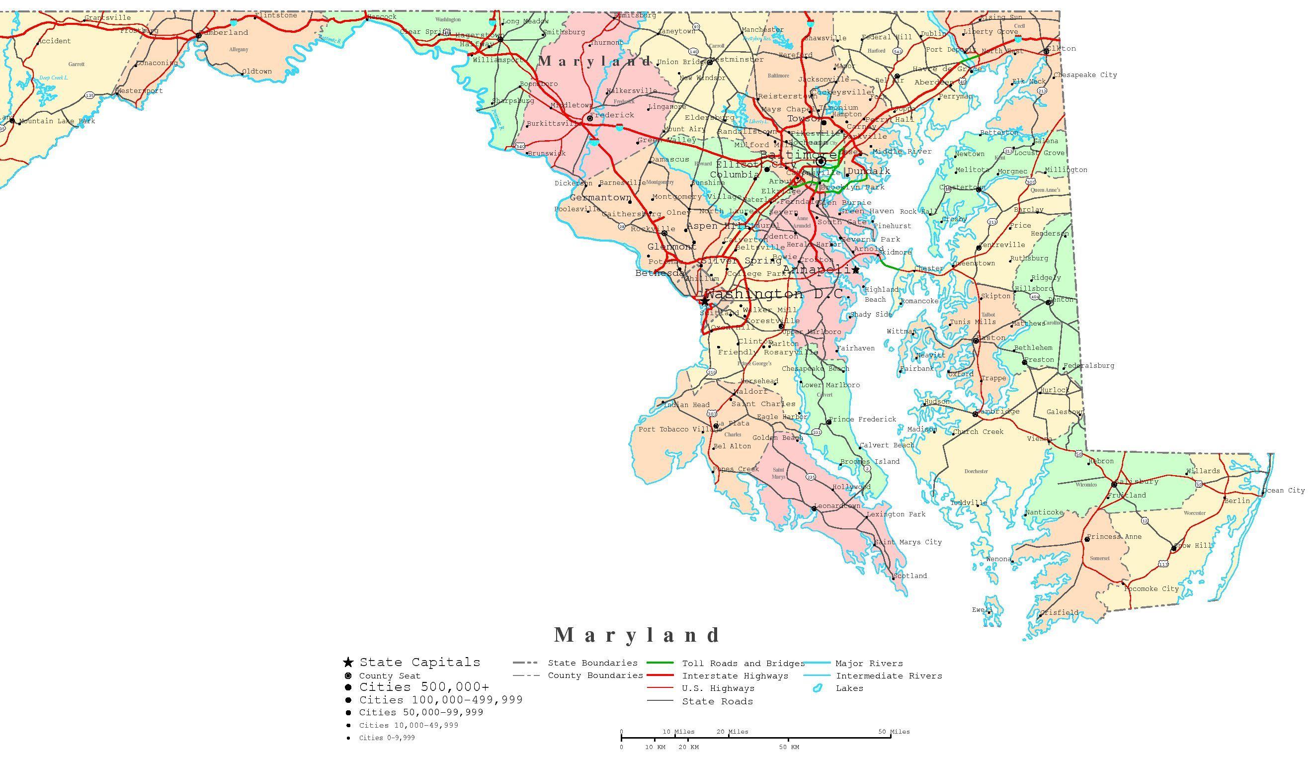 Maryland County Map Printable