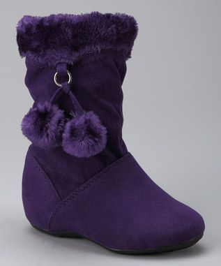 Pinky Footwear Purple Bobbie Zip-Up Pom-Pom Boot. My 4yr old would love these.