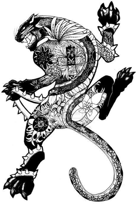 felino pantera maori desenho para costa panther tattoo by mohzlee20