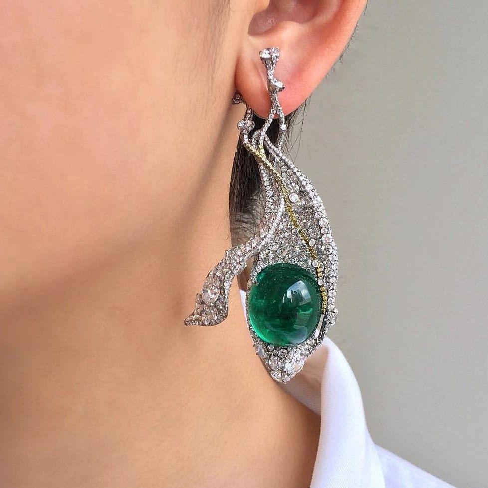 Fancy emerald and diamond earrings