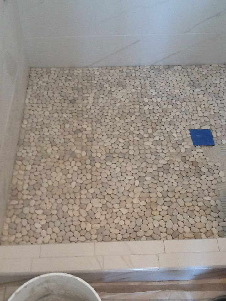 pebble tiles for shower floor | this would feel so nice on your