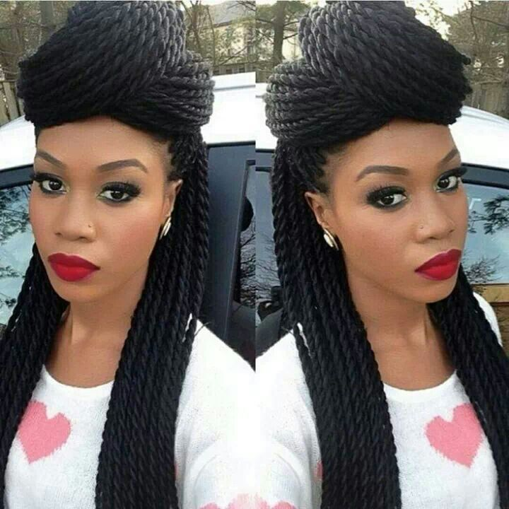 Follow me for more gorgeous pins! Perfect twist braids. Full red lips. Crisp makeup. Gorgeous creative natural looking hair styles for youthful black women.