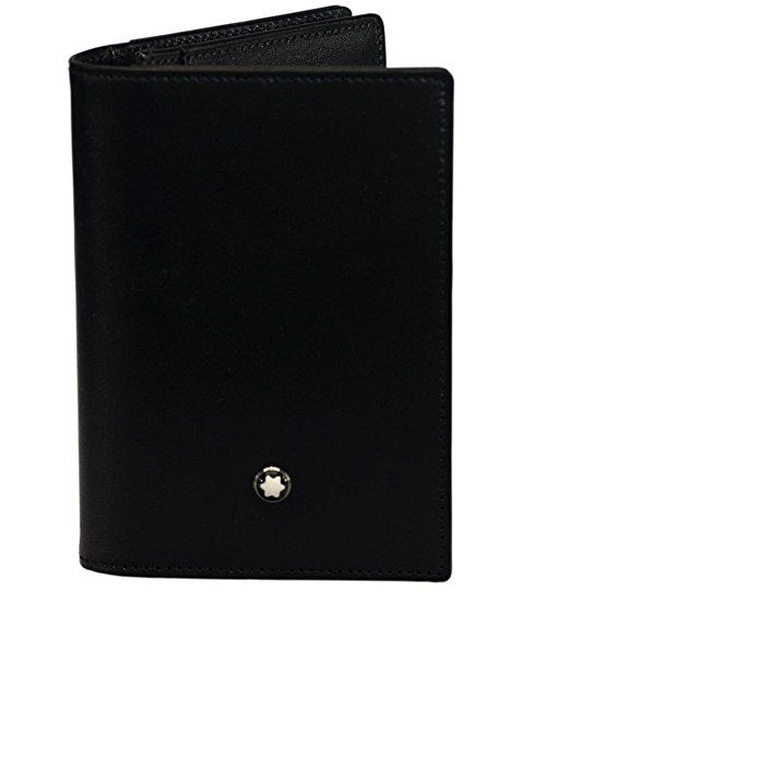 Fancy black leather business card case sketch business card ideas montblanc meisterstck business card holder with gusset mont blanc reheart Images