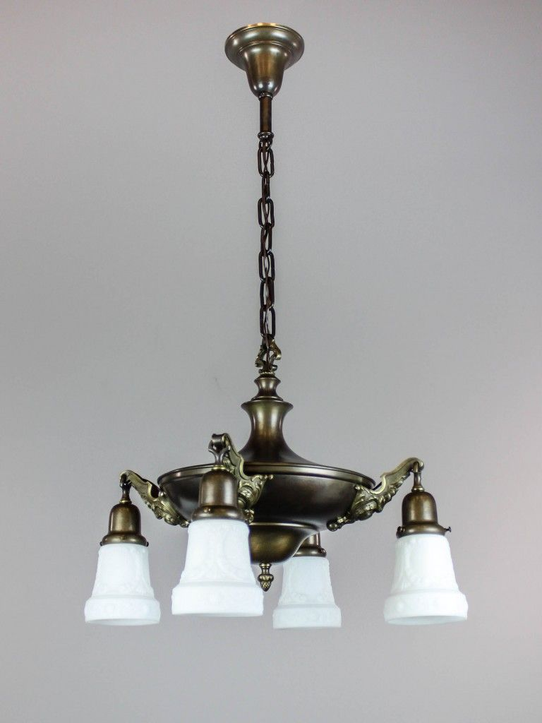 Ca 1910 Antique Pan Light Fixture Fitted With Period