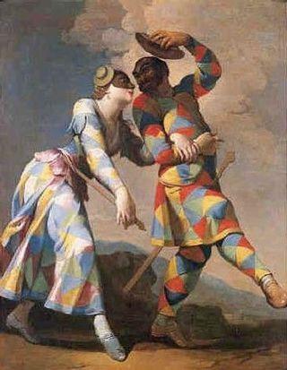 Giovanni Domenico Ferretti (1692-1758) Arlequin et sa compagne ...