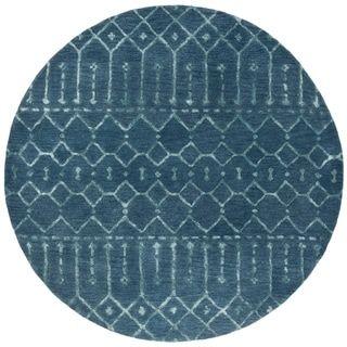 Safavieh Handmade Himalaya Shira Modern Wool Rug 6 X 6 Square Navy Silver Blue Round Area Rugs Area Rugs Navy Rug
