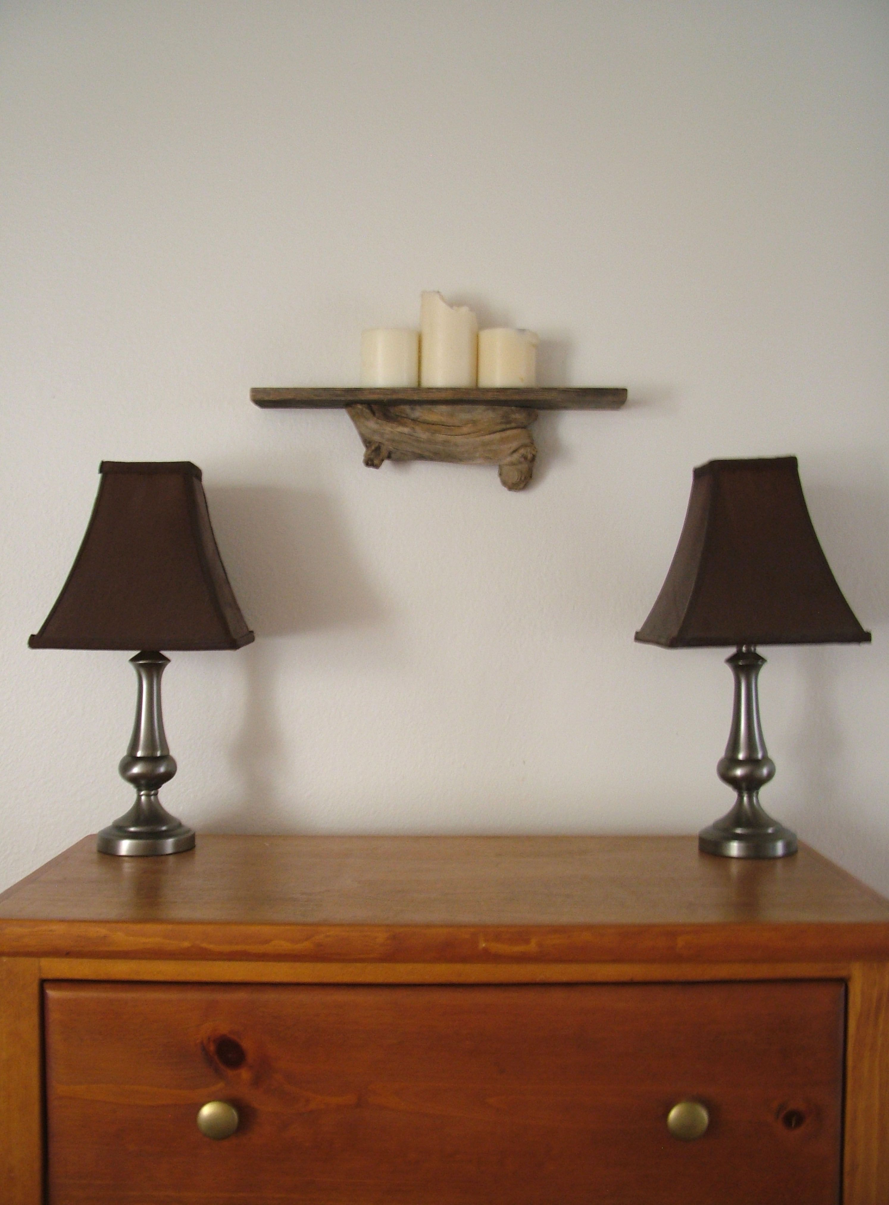 DIY log shelf! my love made this for me. Desk lamp, Lamp