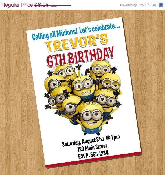 ON SALE Despicable Me 2 Invitations by PartyTimePrints on Etsy