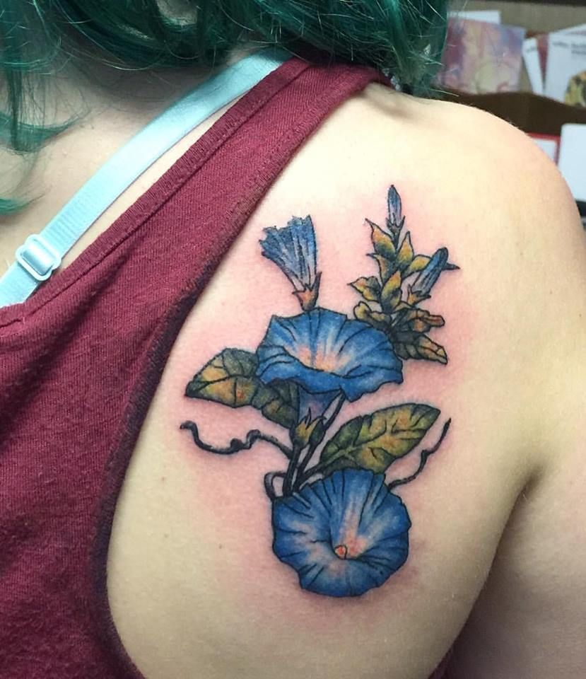 morning glory tattoo done by alyssa at art soul tattoo and gallery rh pinterest com morning glory tattoo designs morning glory tattoo black and white