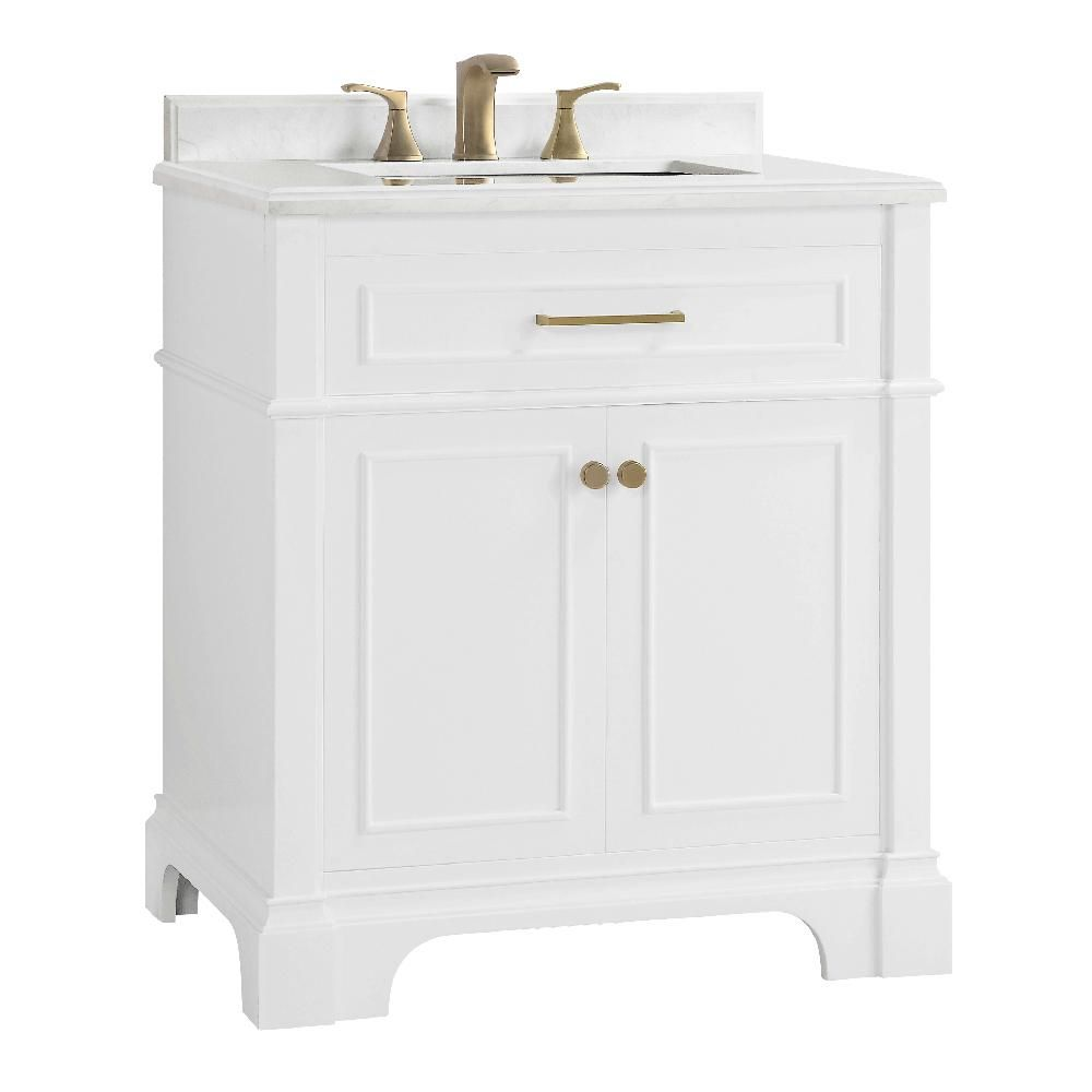 Home Decorators Collection Melpark 30 In W X 22 In D Bath Vanity In White With Cultured Marble Vanity Top In White With White Sink Melpark 30w The Home Depo Marble
