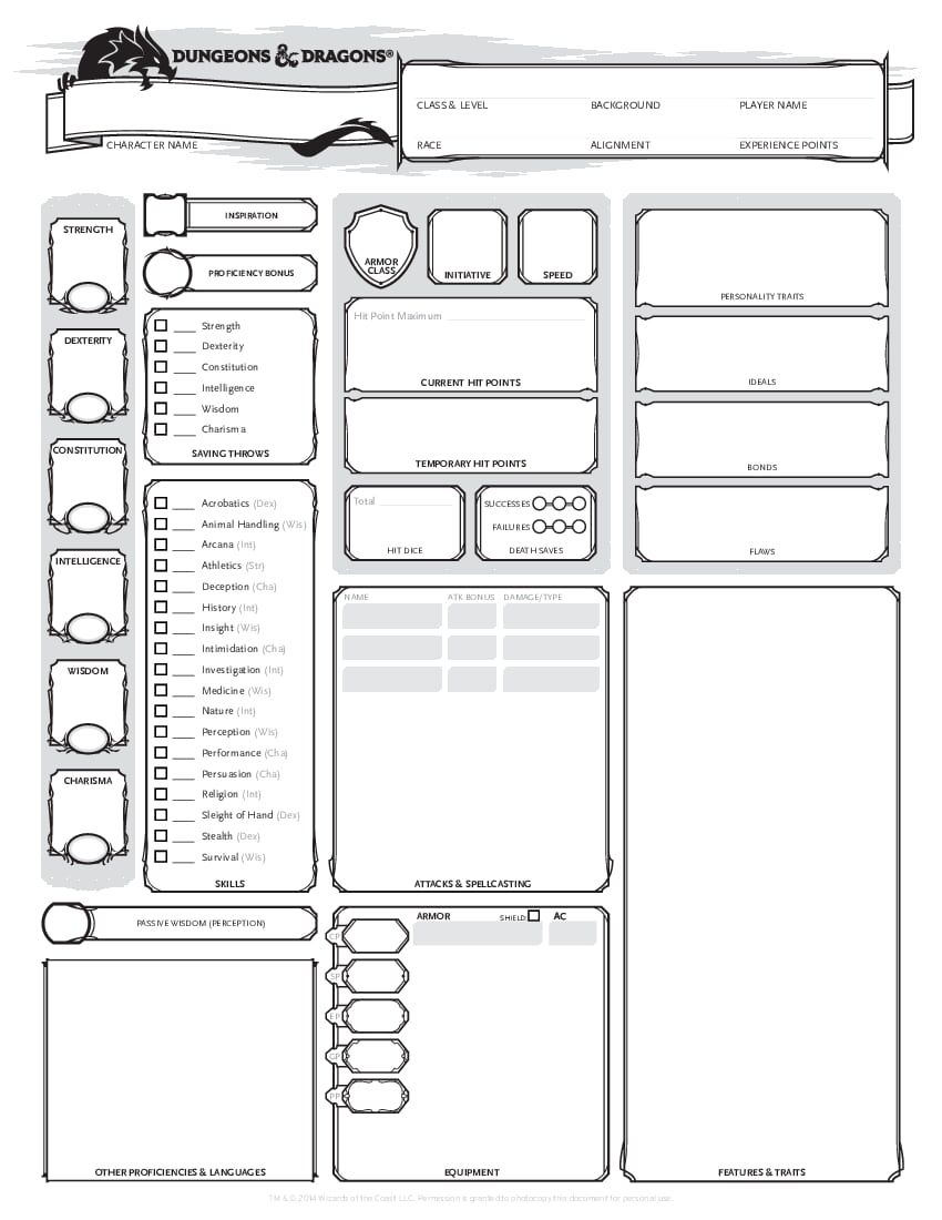 6c7fee228eec1 Character Template.pdf - OneDrive | D&D in 2019 | Dungeons, dragons ...