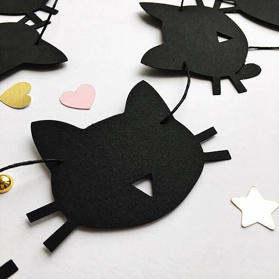 Cat Birthday Banner: Cat Paper Garland Black Cat Birthday Party Decorations