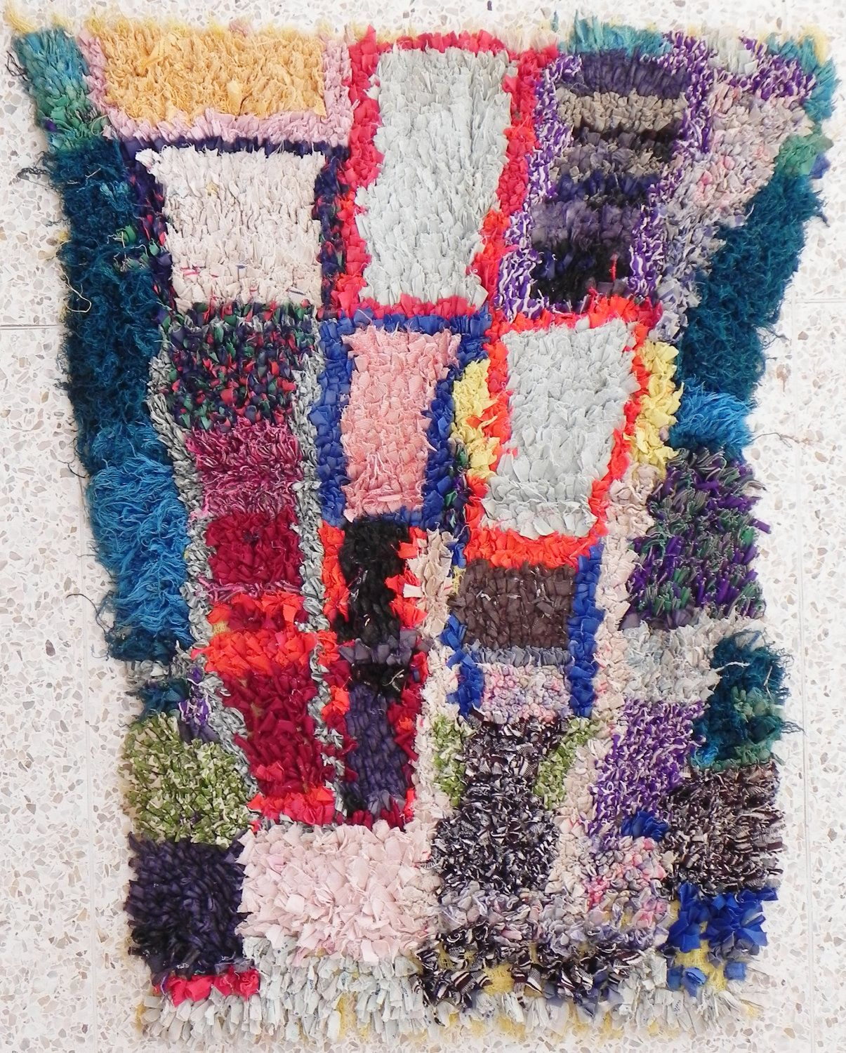 "Rag Rug From Morocco Called "" Boucherouite Or"