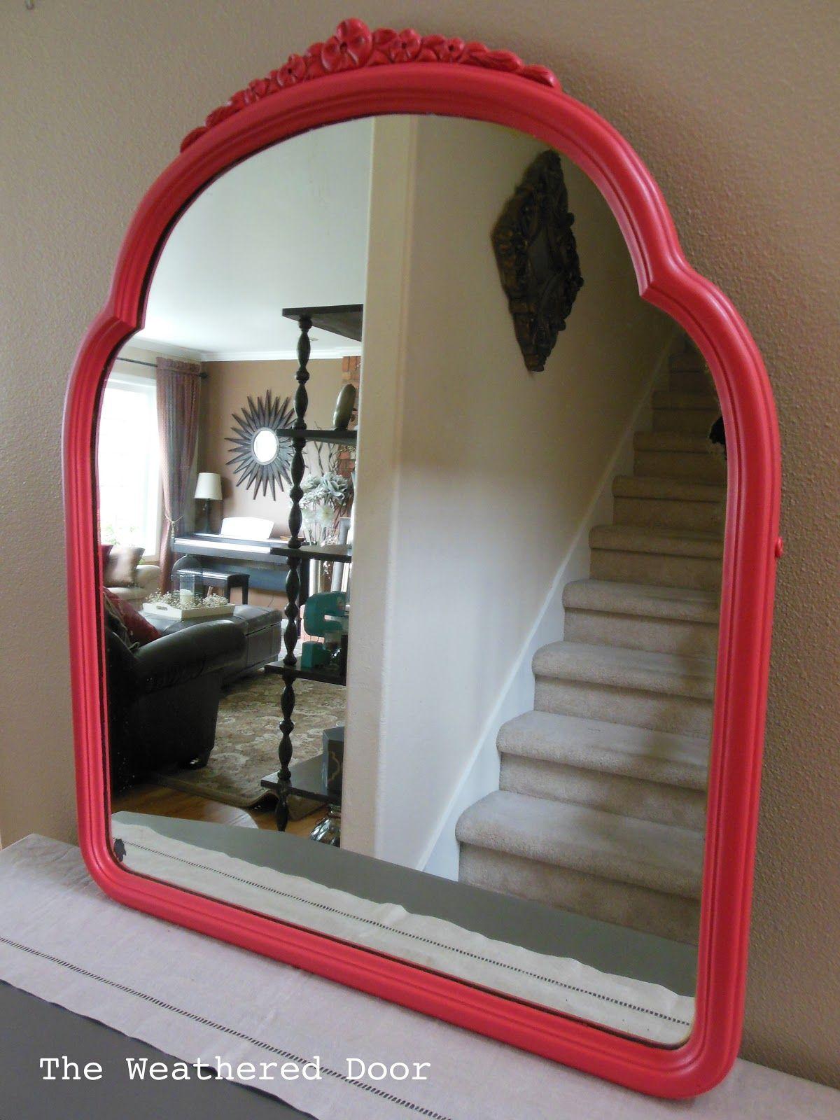 The Weathered Door: Antique Coral Mirror