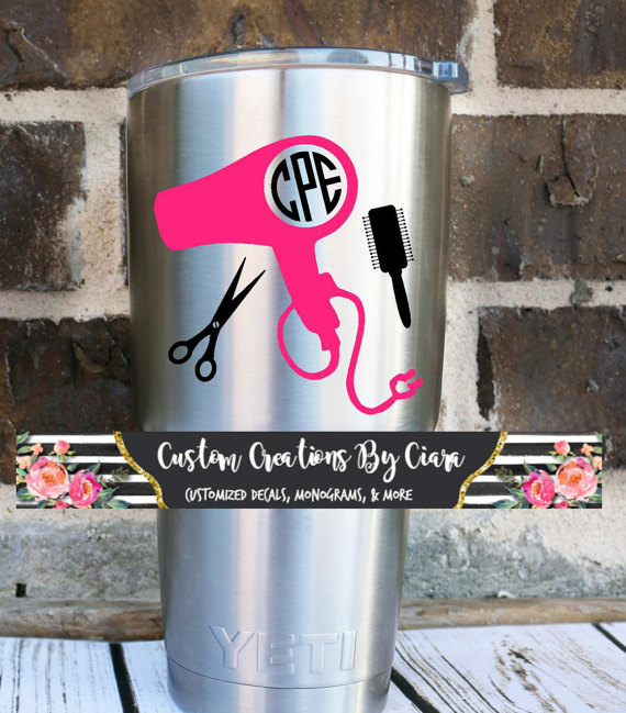 Hairstylist Monogram Decal Custom Monogram Decal Car Decal - Hair stylist custom vinyl decals for car
