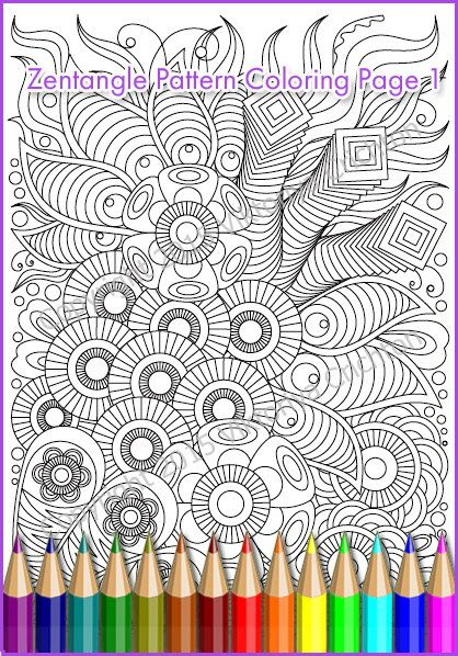 Printable Coloring Page Zentangle Pattern PDF by