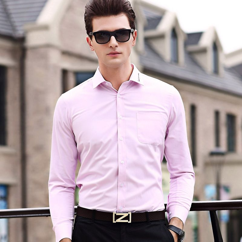 Click To New 2017 Men S Business Formal Shirt Solid Color