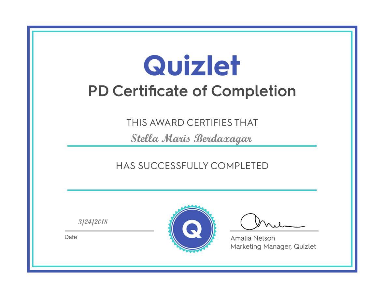 A PD Certificate  | Quizlet, our 21st Century Platform of