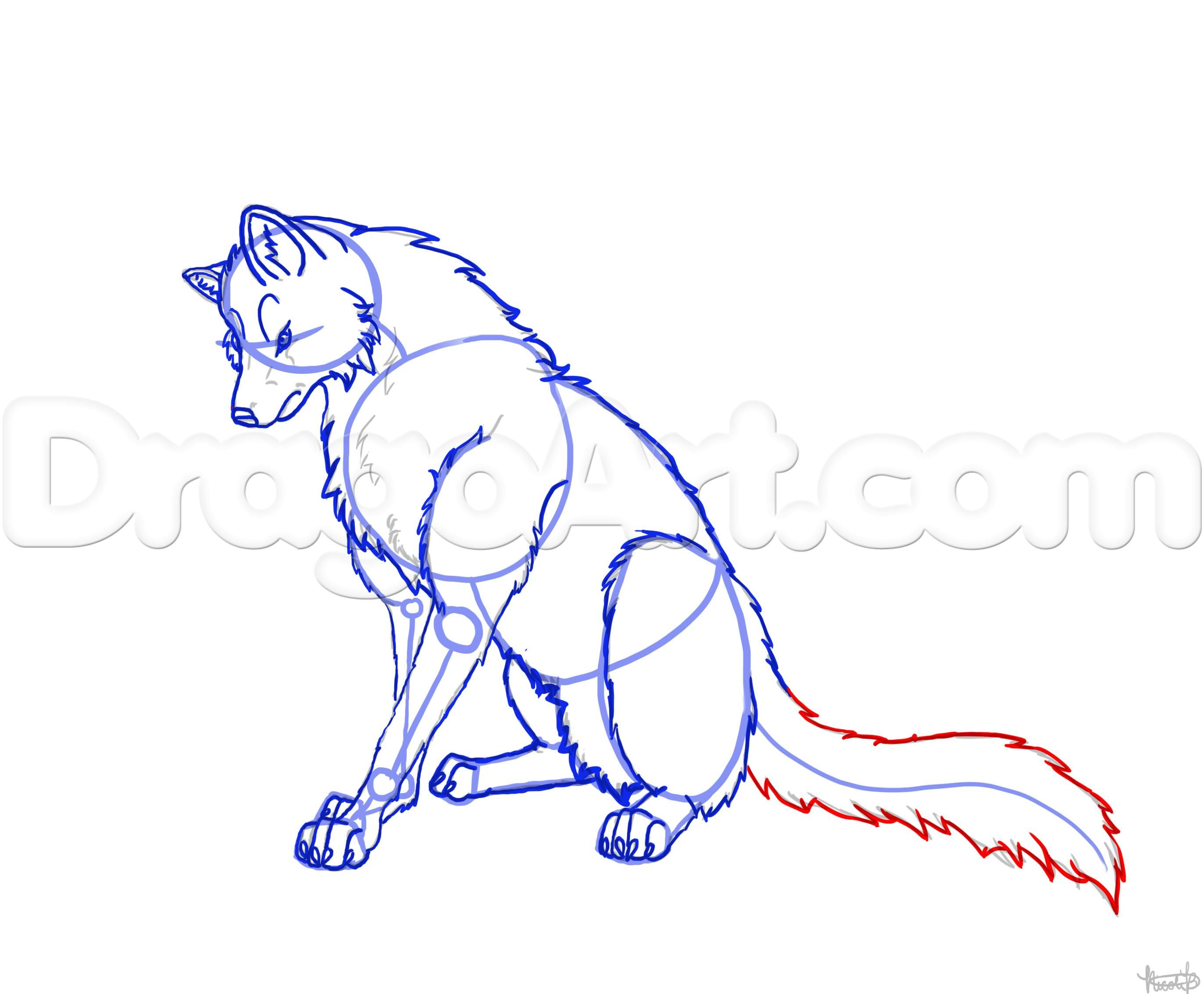 How To Draw A Wolf Sitting Step By Step Forest Animals Animals Free Online Drawing Tutorial Added By Thelaststar Wolf Sitting Wolf Drawing Animal Drawings