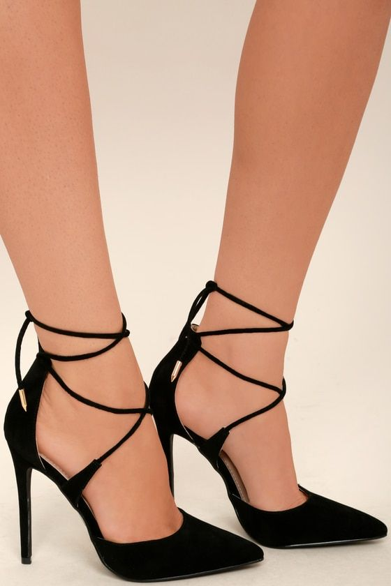 974d56463aa Lulus | Dani Black Suede Lace-Up Heels | Size 7 | Vegan Friendly in ...
