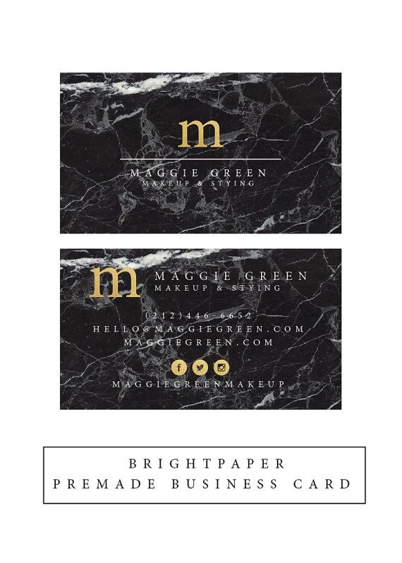 Premade Black Marble Faux Gold Foil Business Card Calling Card