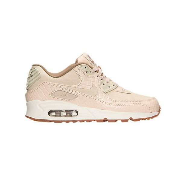 Nike Air Max 90 Premium oatmeal/sail/khaki Sneakers Made With... ($180) ❤  liked on Polyvore featuring shoes, sneakers, pink, sneakers & athletic shoes,  ...