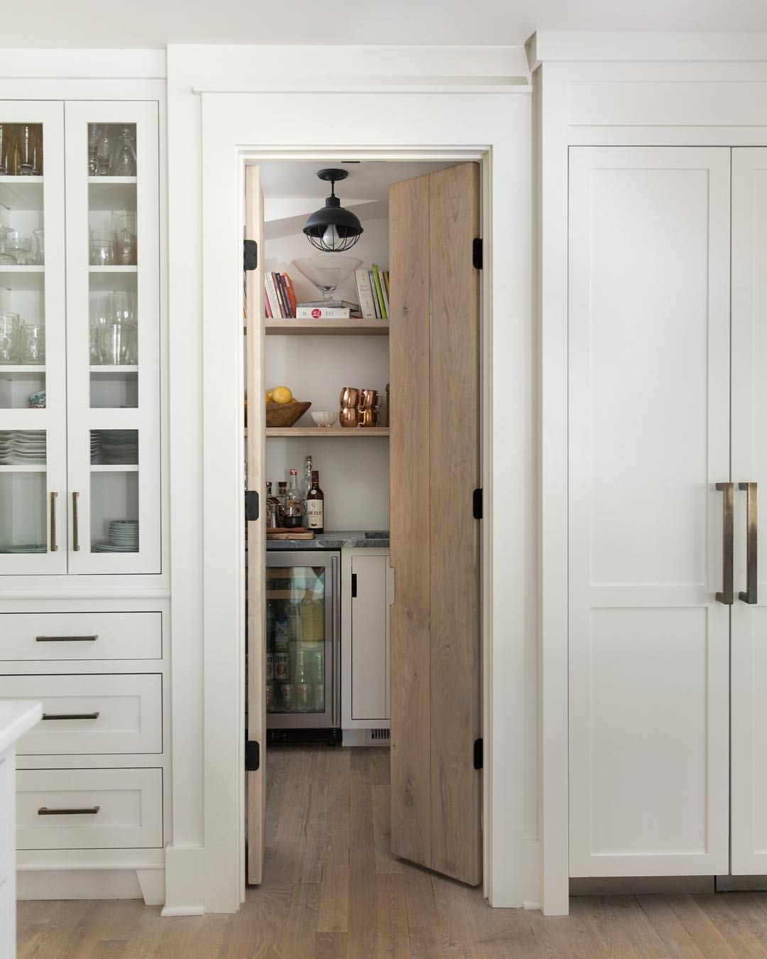 Woodworking Plans Kitchen Pantry: White Kitchen, Wood Pantry Door, White Refrigerator Doors
