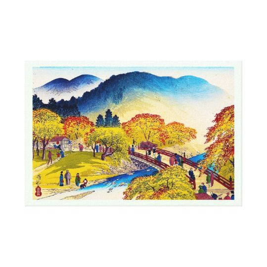 Cool japanese mountain fall river bridge scenery canvas print ...