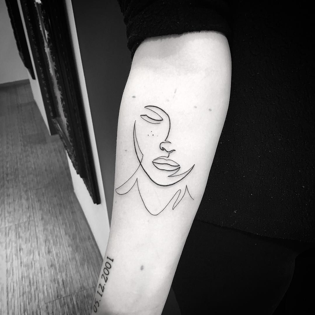 7fab8ebfb9db4 Single line lady face tattoo by Tonje Hellesen | Minimalist Tattoos ...