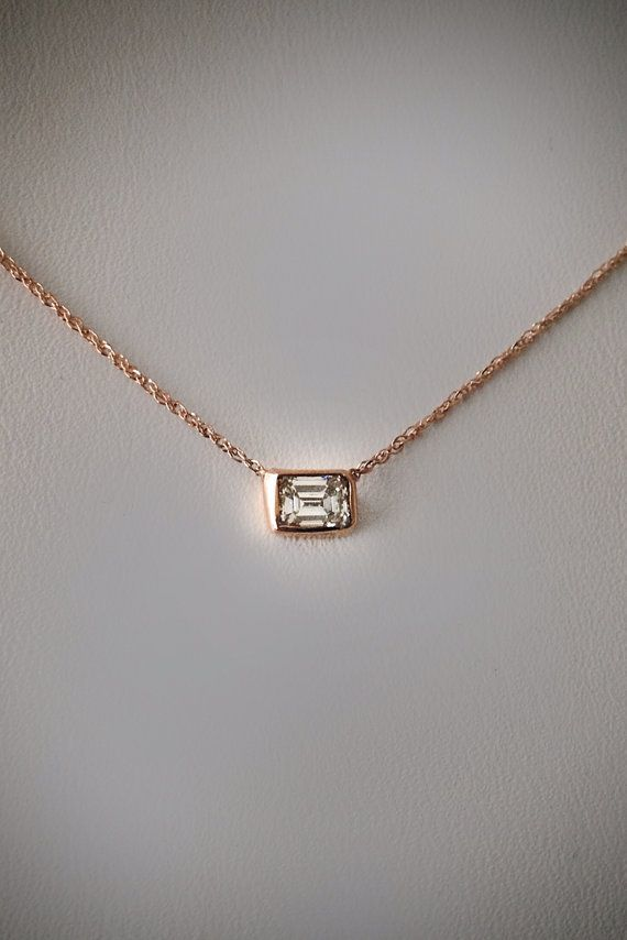 pendant green emerald cut preville jewelry lyst diamond penny floating necklace in