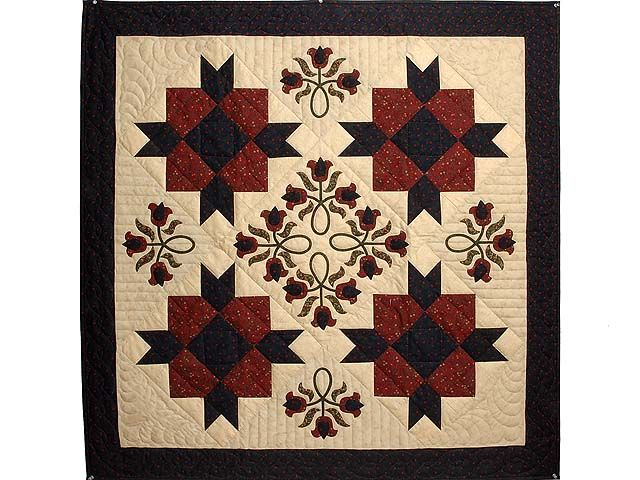 Amish style quilts | Navy Burgundy and Sage Promise of Spring Wall Hanging