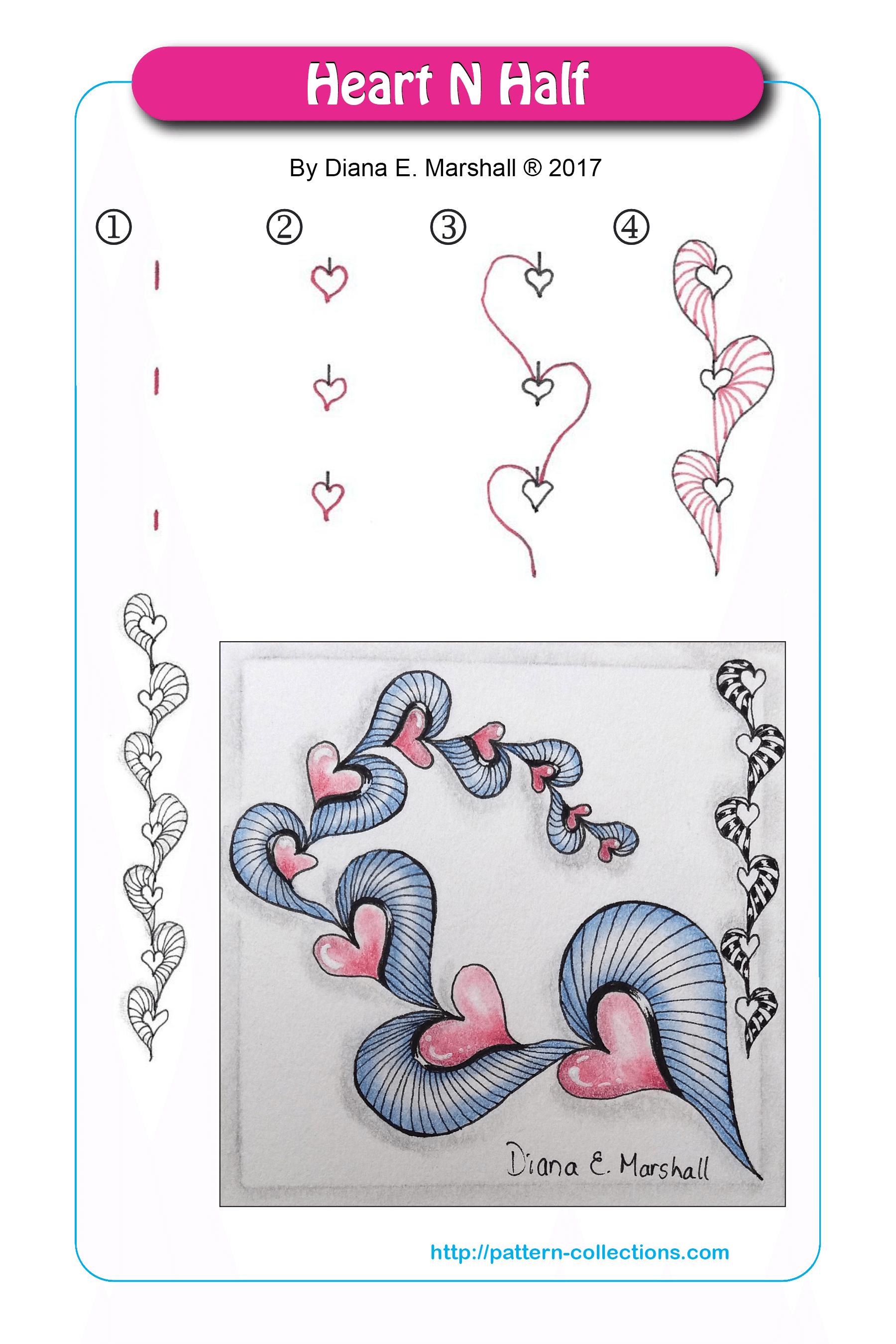 Afbeeldingsresultaat voor heart n half zentangle
