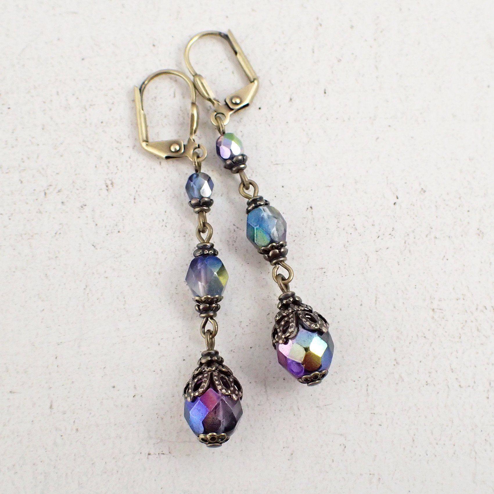 Details about  /SEA GLASS Teardrop Green Weave Wire Silver LEVERBACK Earrings USA HANDMADE